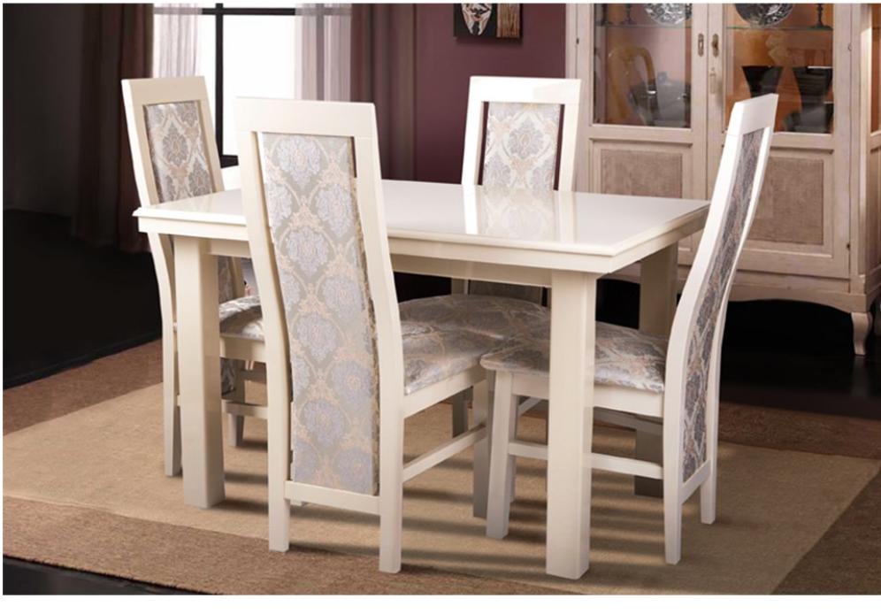Кухонный комплект -Европа 2. Стол раздвижной, 4 стула. Цвет - слоновая кость.
