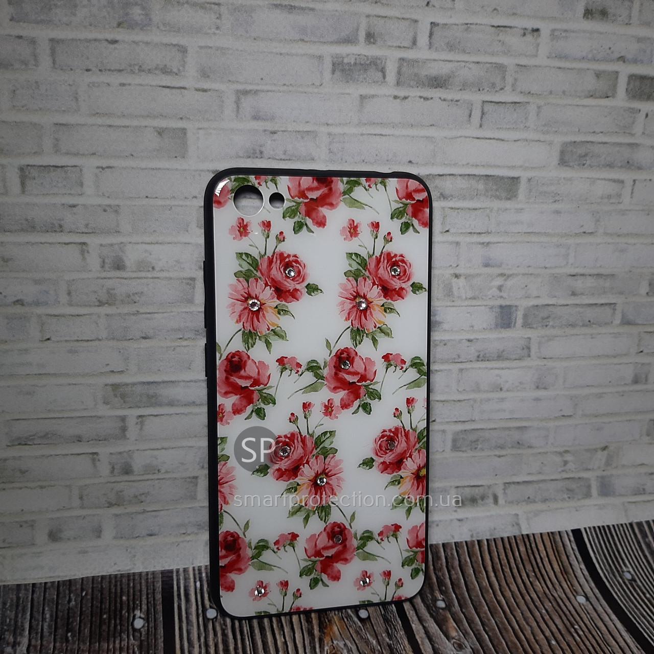 Пластиковый чехол накладка для Xiaomi Redmi Note 5a цветы на белом со стразами