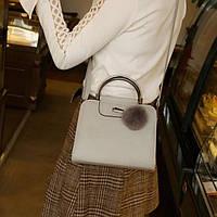 Женская серая сумка через плечо из эко-кожи с двумя ручками