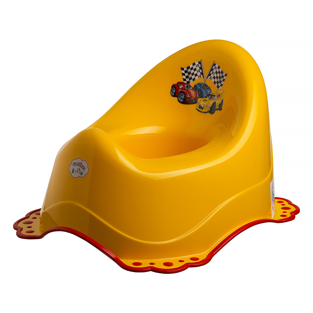 Горшок Maltex Cars 5665 нескользящий  yellow with red rubbers
