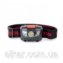 Ліхтар налобний світлодіодний, пиловологозахищений корпус, 4 реж, 1Вт + 2 LED, 3 бат.ААА LB-0302