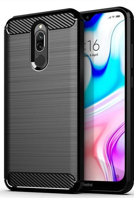 Чехол накладка для Xiaomi Redmi 8 Carbon Rugged Черный