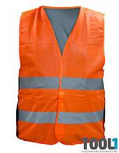 Жилет со светоотражающей лентой оранжевый XXL MASTERTOOL 83-0002