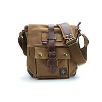 Чоловіча брезентова сумка мілітарі через плече Akarmy коричневого кольору, фото 1