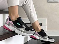 Женские кроссовки Adidas Falcon (черно-серые) 9327
