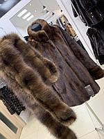Женский норковый полушубок  L 48 с меховом поясом коричневого цвета воротник стойка