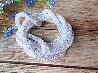 Полый шнур в блестках, цвет БЕЛЫЙ, 1 м, фото 1
