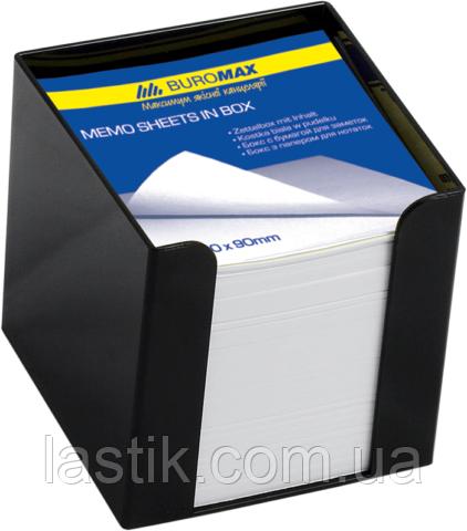 Бокс пластиковый с белой бумагой, 90х90х90 мм, черный