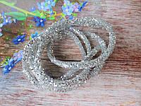Полый шнур в блестках, цвет СЕРЕБРО, 1 м, фото 1