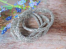 Полый шнур в блестках, цвет СЕРЕБРО, 1 м