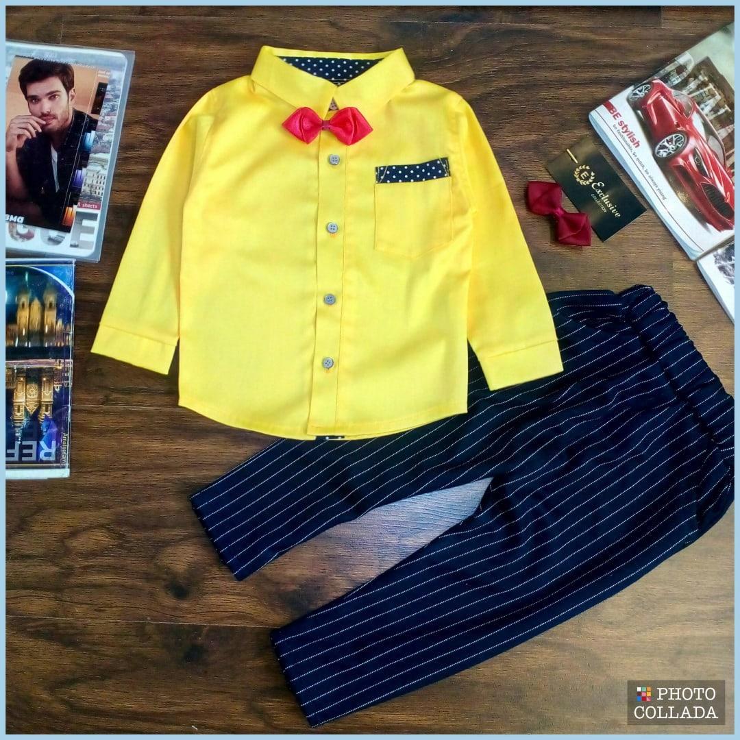 Нарядный костюм двойка на  мальчика Стиляга  1-4  года желтый  с т.синим