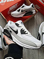 Мужские кроссовки Nike Air Max 90 (бело-серые) 401PL