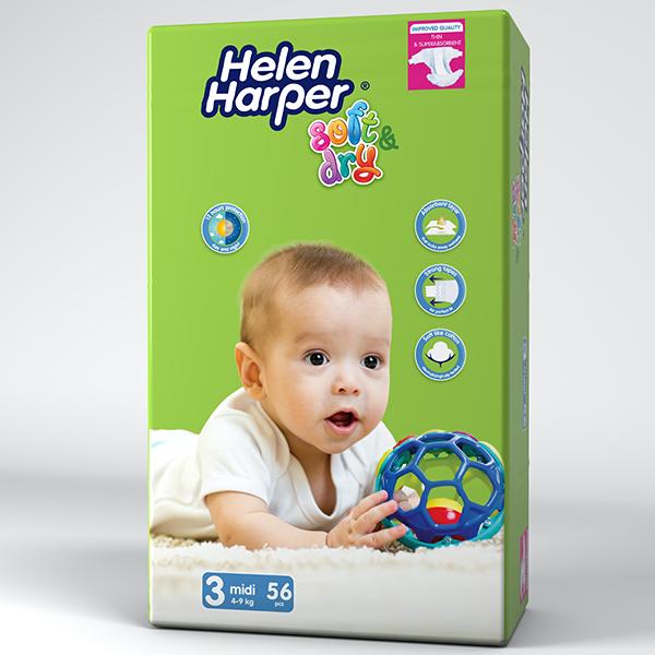 Підгузки Helen Harper Soft & Dry 3 (4-9кг), 56шт