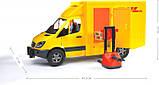 Bruder Игрушка машинка МВ Sprinter курьерская доставка грузов с погрузчиком, 02534, фото 3