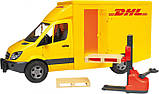 Bruder Игрушка машинка МВ Sprinter курьерская доставка грузов с погрузчиком, 02534, фото 2