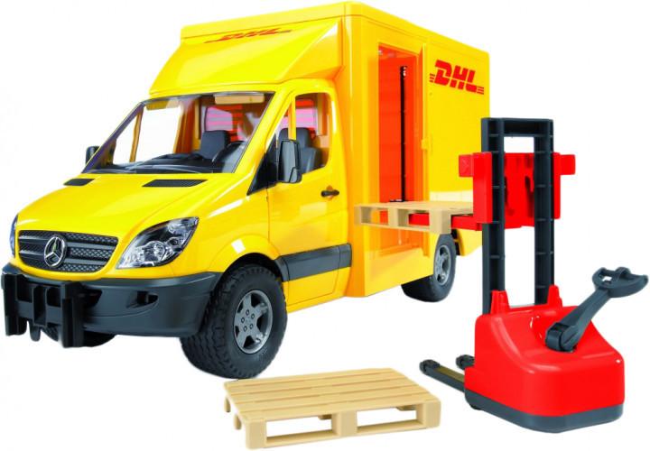 Bruder Игрушка машинка МВ Sprinter курьерская доставка грузов с погрузчиком, 02534
