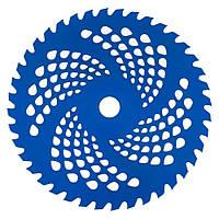 Нож к мотокосе 40 зуб. (нерж. сталь) в уп. Синий, с гальваническим покрытием, 225x25.4 мм (87428)