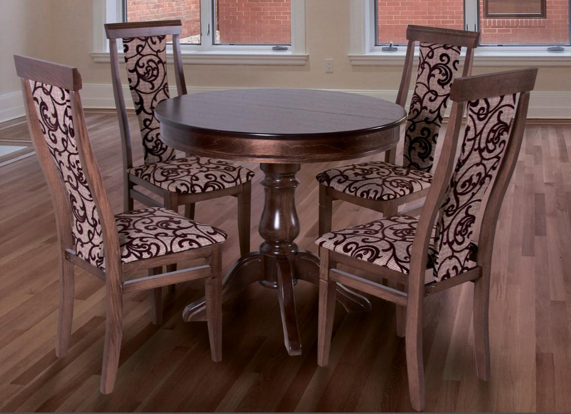 Кухонный комплект -Эдельвейс. Стол раздвижной, 4 стула. Цвет - орех.