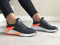 Женские кроссовки Adidas (серо-белые с оранжевым) 9355