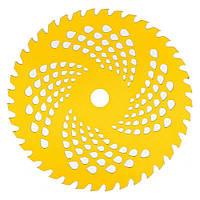 Нож к мотокосе 40 зуб. (нерж. сталь) в уп. Желтый, с гальваническим покрытием, 225x25.4 мм (87429)