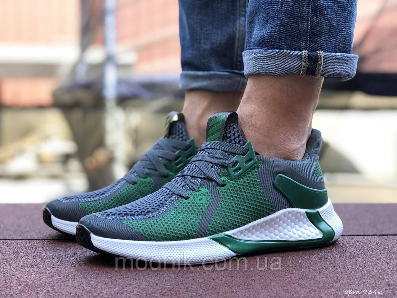 Мужские кроссовки Adidas (зелено-серые с белым) 9346