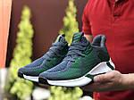 Мужские кроссовки Adidas (зелено-серые с белым) 9346, фото 4