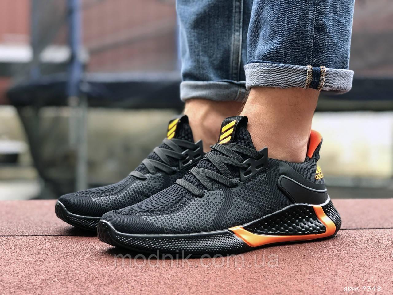 Мужские кроссовки Adidas (черно-оранжевые) 9348