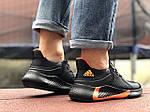 Мужские кроссовки Adidas (черно-оранжевые) 9348, фото 4