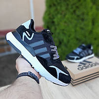 Мужские кроссовки Adidas Nite Jogger (черно-белые) 10160