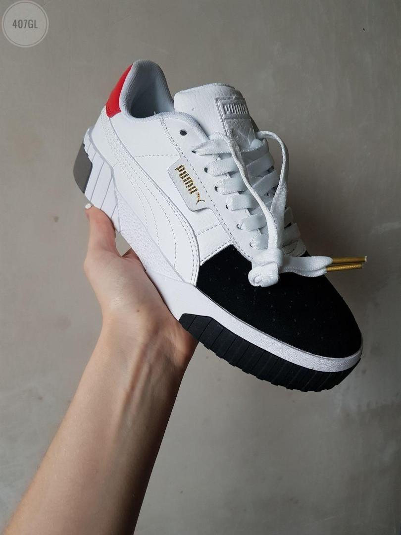 Женские кожаные кроссовки Puma Cali (бело-черные) 407GL
