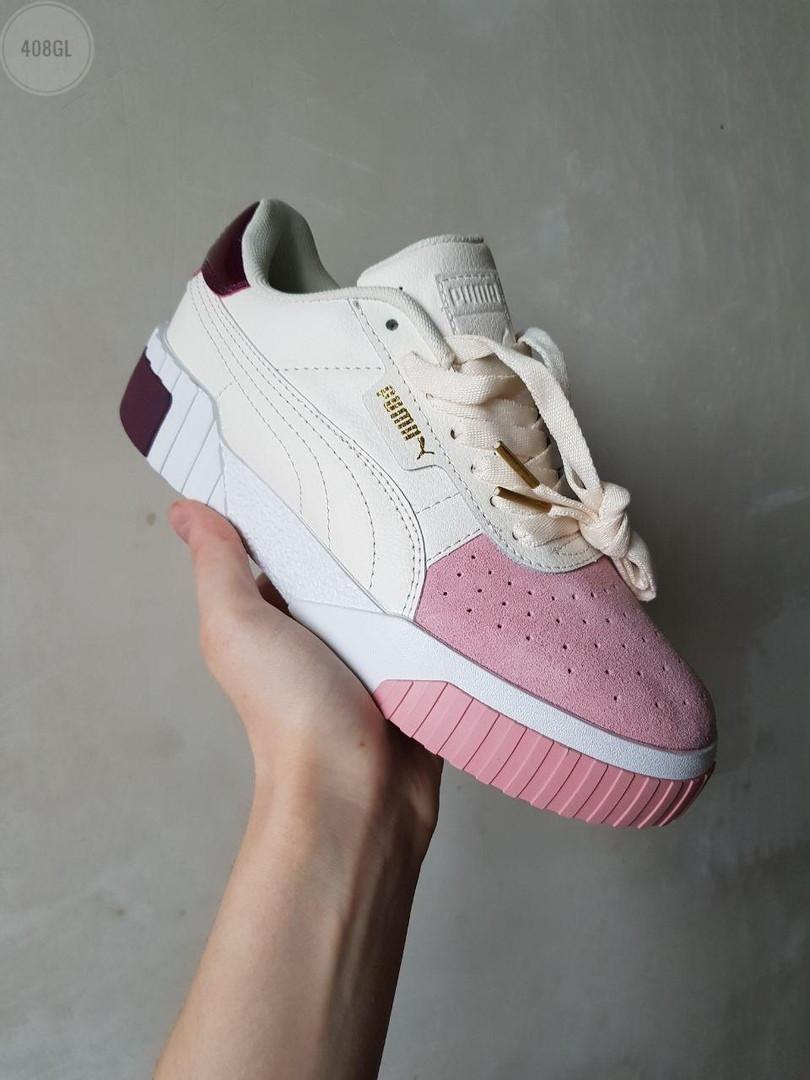 Женские кожаные кроссовки Puma Cali (бело-розовые) 408GL
