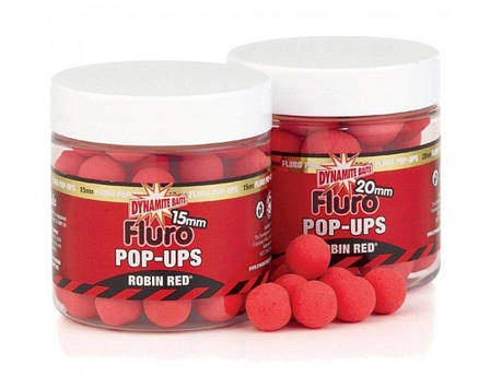 Плавающие бойлы DYNAMITE BAITS Robin Red Fluro Pop-Ups 15mm, фото 2