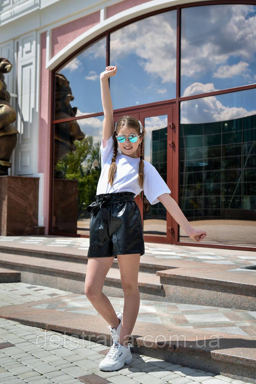 Детские шорты кожзам для девочки