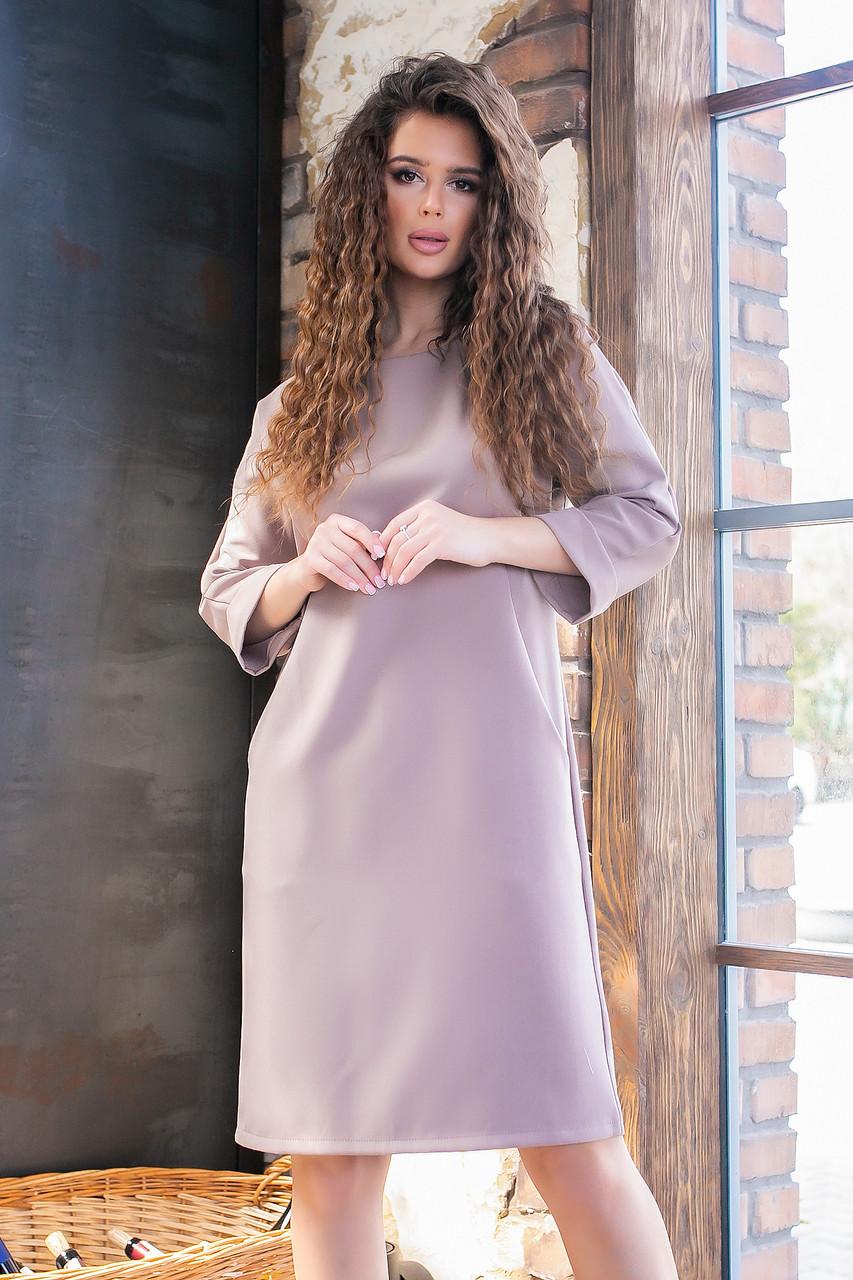 Платье с карманами, ткань креп, арт 772 , цвет кофе