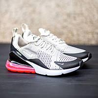 Кроссовки мужские летние в стиле Nike Air Max 270 текстильные кроссовки в стиленайк бежевые с красной пяткой
