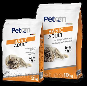 Сухой корм для кошек PetQM Basic Adult with Poultry & Vegetables с птицей и овощами 10 кг