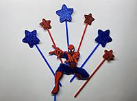 Топпер Человек паук с комплектом звезд   Топперы на торт супер герои   Топперы для детей   Топперы Марвел