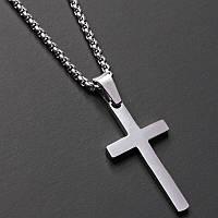 Мужская металлическая серебряная подвеска, цепочка на шею с крестом, кулон, чоловічий хрестик  из стали 316L