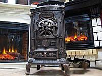 Камин печь буржуйка Bonro Black чугунная двойная стенка 9 кВт (Польша)