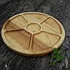 Менажница деревянная 30 см, круглая на 5 секций с соусницей из черешни, ясеня, фото 5
