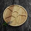 Менажница деревянная 30 см, круглая на 5 секций с соусницей из черешни, ясеня, фото 3