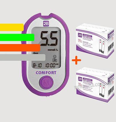 Глюкометр 2B Comfort +110 тест-полосок, фото 2