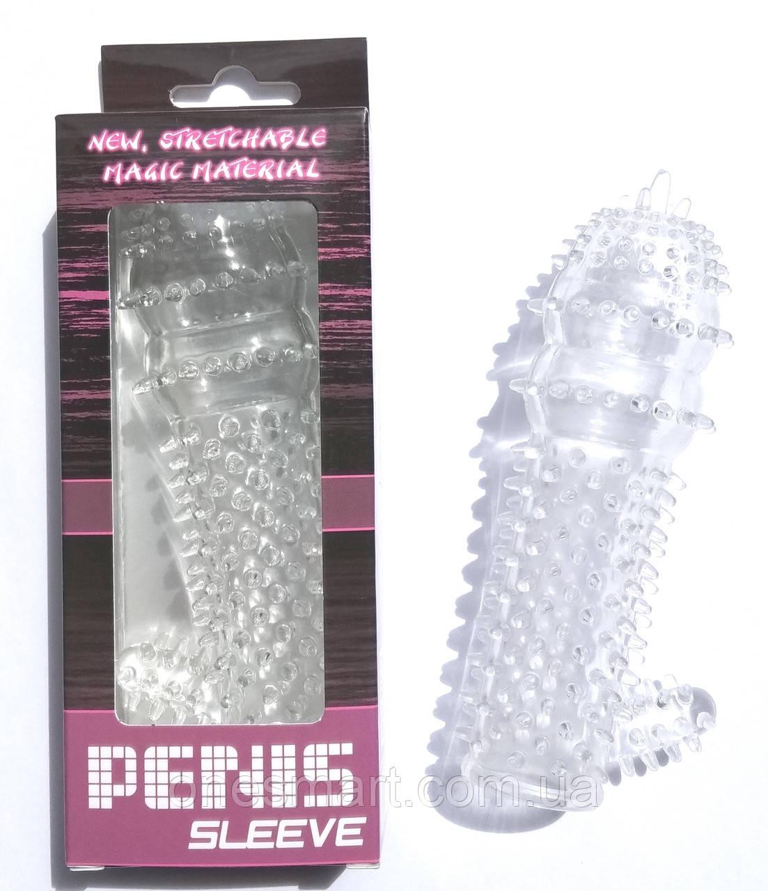 """Насадка на пенис с шипиками и стимулятором клитора  """"Penis Sleeve"""" от Baile"""