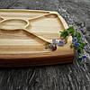 Менажница деревянная 30х30 см. квадратная на 4 секции с соусницей из черешни, ясеня, фото 2