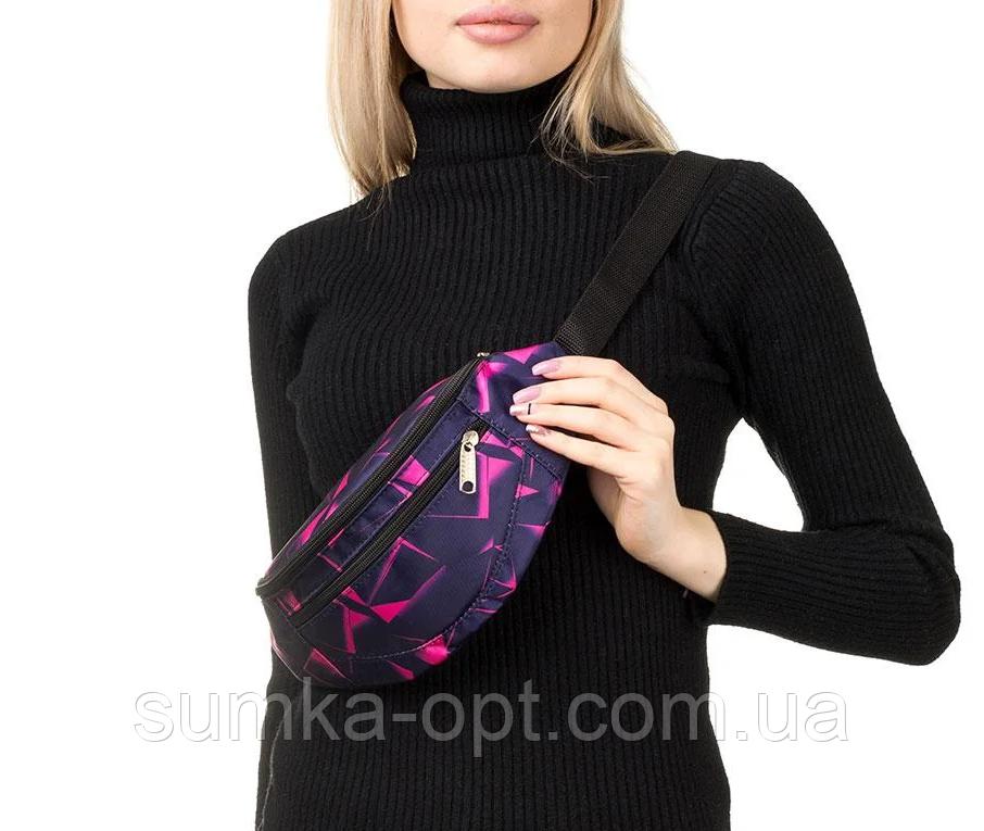 Универсальные сумки-бананки на пояс на 2отд. (ПРИНТ)13*28см