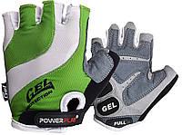 Велорукавички PowerPlay 5034 C S Біло-зелені (5034C_S_Green)