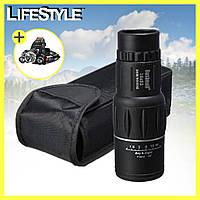 Компактный монокуляр Bushnell 16х52 с двойной фокусировкой + Подарок! Налобный фонарь