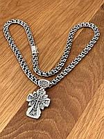 Серебряный комплект. Серебряная цепочка «Шестигранный бисмарк». Акимовский крест. Серебро 925 пробы.