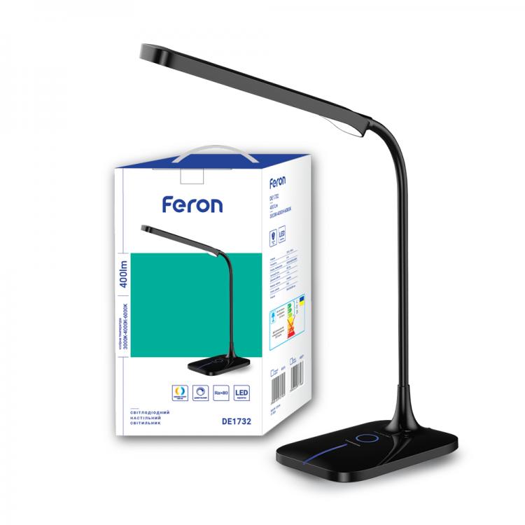 Світлодіодний настільний світильник Feron DE1732 6W 3000K-4000K-6000K Чорний