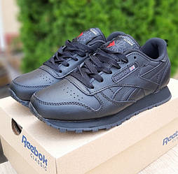 Женские кроссовки Reebok Classic Leather Black 36-41р. Живое фото. Реплика